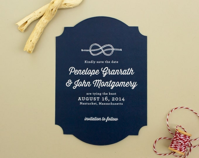 Nautical Save the Date Card, Die Cut Wedding Save the Dates, Tying the Knot Engagement Announcement, Navy Save the Dates | Maritime