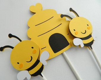 12 (Plus 2 Extra) Bee Cupcake Toppers, Cupcake Toppers, Bee Cupcake Toppers, Bumble Bee Cupcake Toppers, Mommy to Bee Banner