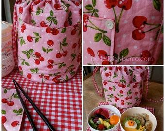 Round Bento Lunch Bag in Cherry Print