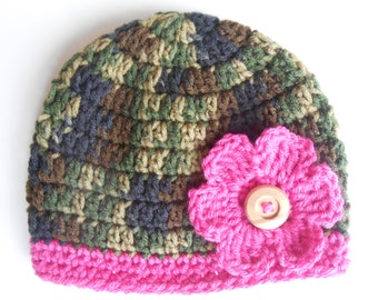 Crochet Hunter or Military Baby Girl Camoflauge Hat Beanie with Pink Flower