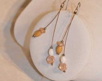 Natural Wood and Wire Dangle Earrings