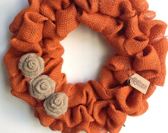 Burlap Fall Wreath, Fall Wreath, Orange Wreath, Orange Burlap Wreath, Autumn Wreath, Burlap Wreath