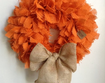 Fall Wreath, Autumn Wreath, Thanksgiving Wreath, Fall Burlap Wreath, Orange Wreath, Orange Burlap Wreath, Halloween Wreath