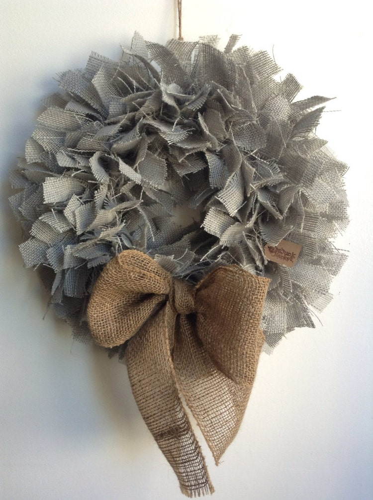 Grey wreath 17 burlap beach wreath coastal living by for Burlap wreath with lights