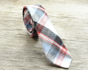 Tie for Boys red, blue and black plaid. NeckTie, gingham tie,  gifts for kids,  little man tie, little boy tie, baby tie, holiday tie