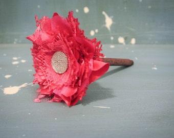 Hot Pink Burlap Fabric Flower Pen with Gem