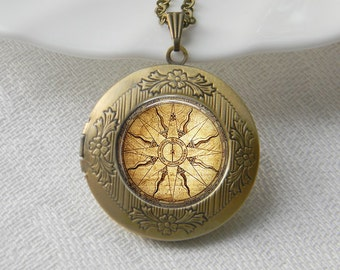 Compass Locket Necklace Art Photo Print Jewelry Locket Pendant Gift For Her (021)