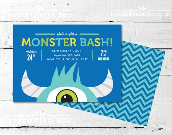 MONSTER BASH {Blue and Green} Party INVITATION - The Celebration Shoppe