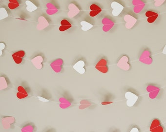 Pink, Red & White Hearts Paper Garland - 12ft (3.5m)