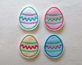"""Easter Egg Felt Embellishment, set of 4, Felties, 1.75"""" x 2"""""""