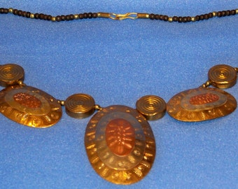 1970's Vintage Silver, Brass And Copper Toned Metal Tribal Look Necklace