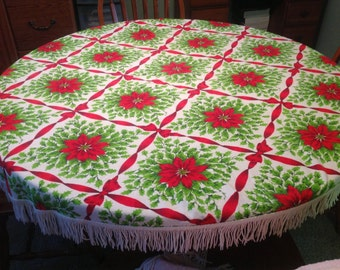 Christmas Holiday Tablecloth Round Fringed Tablecloth Christmas Tablecloth