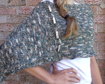 Sweater Cape, Upcycled Poncho, Shawl repurposed from a multi coloured sweater