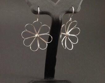 Happy Flower Earrings in Solid Argentium Sterling Silver
