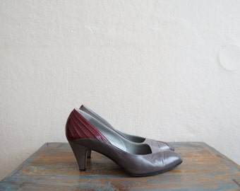 Vintage 1980s Shoes / Vintage Heels / Vintage Leather Shoes