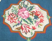Tapestry panel in blue with framed flowers vintage embroidery upholstery seat panel reuse upcyle