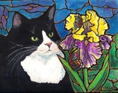 "Sweet Tuxedo Cat Iris Flower Butterfly Art 8""x10"" Print of original painting by K.McCants Stained Glass Mosaic Tiffany Style"