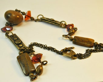 Ethnic Statement necklace set with Pietersite stone, crystals and brass accents