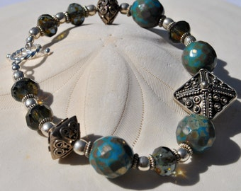 Ocean Blue Czech Glass Bracelet set with Bali sterling silver focal, beads and crystals