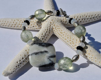 Soft green bracelet with lovely Amazonite stone, Bali sterling beads, and Czech glass