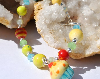 Colorful ceramic bracelet with cute cupcake, sterling silver beads, clasp and crystals