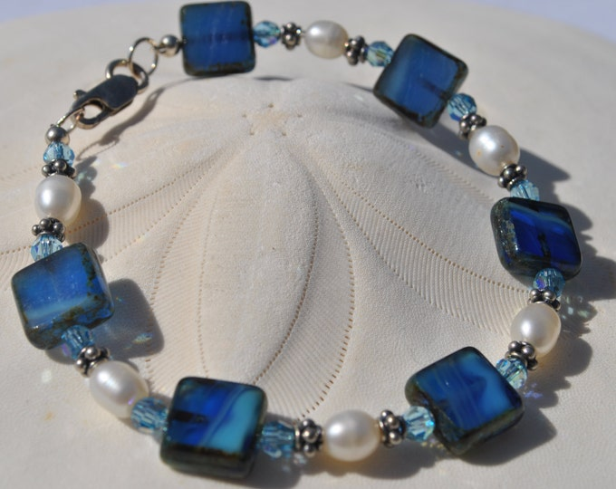 Sapphire Blue Czech Glass Bracelet set with Bali sterling silver beads, pearls, and crystals