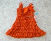 Fall Orange Petti lace dress, ruffle dress, baby girls dress,Birthday outfit, flower girl dress,Thanksgiving,girls dress,baby girl,halloween