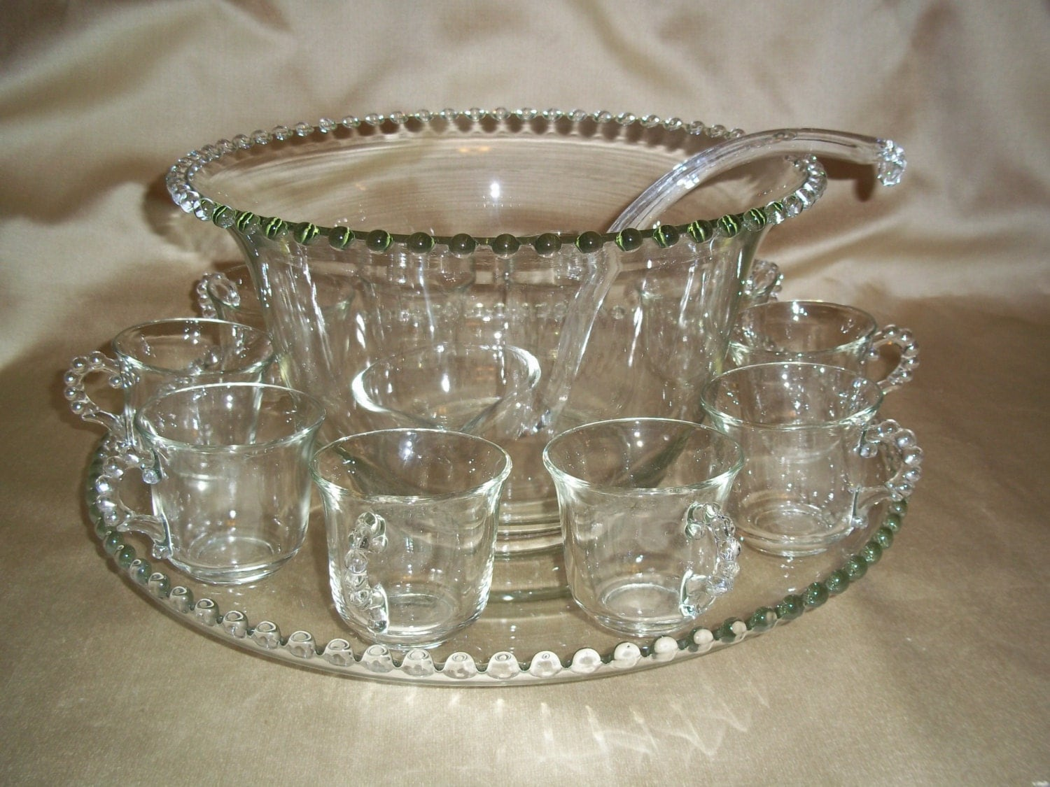 vintage imperial glass candlewick punch bowl set. Black Bedroom Furniture Sets. Home Design Ideas
