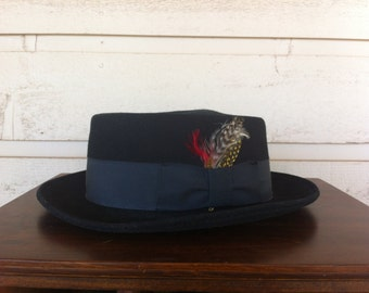 Vintage Wool Fedora With Feather