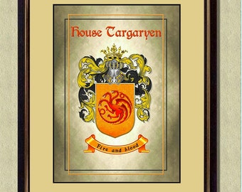 HOUSE TARGARYEN Coat of Arms - Game of Thrones -  Poster art print  - Quote art print -