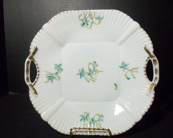 Cake Plate Pierced Handles Turquoise Aqua Flowers with Gold Trim Shabby and Chic Cottage Chic