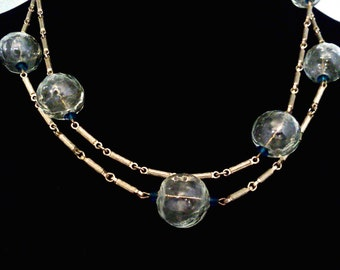 Fabulous '60s Hippie Chic Necklace of Hollow Glass Beads
