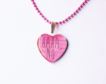 Haha No On Pink Brick Wall Heart Cameo Pendant Necklace - Misanthropy Jewelry - Gift for Misanthropes - Gift for Misanthropists -Can You Not