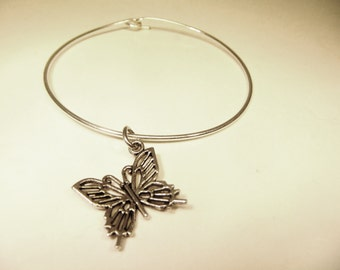 Butterfly Kiss stackable wire bangle bracelet