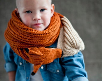 Child's Red Fox Scarf- Funny gift for children-Knitted scarf- Gifts for Kids
