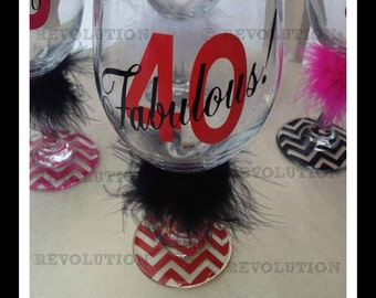 40 and Fabulous Birthday Wine Glass 40th birthday gift ideas gift for ...