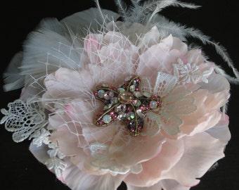 Pink Wedding Peony Hair Clip- Silk Flower- Bridal Hair Flower Clip-Peony-Wedding Accessory-Brooch