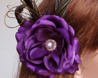 Wedding Accessory Purple Hair Clip Bridal Accessory Hair Flower Clip Pearl Feathers Vail