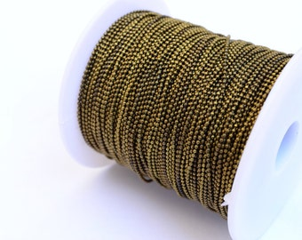 20 Meter - 65,6 Feet Antique Bronze 1 mm Ball Chain
