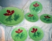 Majolica Pottery Salad Serving Set 6 Pieces Made In Germany Dessert Set Red Poppy Flowers Hibiscus Pattern Green Basketweave Background