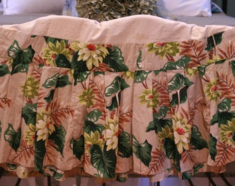 Vintage Tropical Hawaiian Bark Cloth Bedskirt