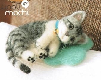 Miniature Sleeping Grey Striped Cat Needle Felting Kit