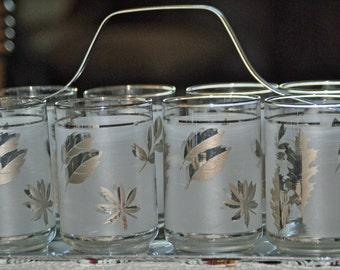 8 Vintage LIBBEY SILVER LEAF Beverage Glasses in Caddy