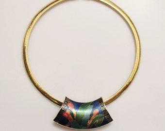 vintage 1980's-Omega Gold  Necklace with Tropical Cloisonne Center