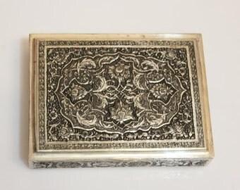 Antique Persian sterling silver 84 cigar box, circa 1930-1940 grams solid silver box