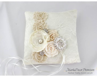 Wedding Handmade Lace Ring Pillow Custom Bridal Bearer Brooch Flower Pillow in Ivory, Cream and Champagne