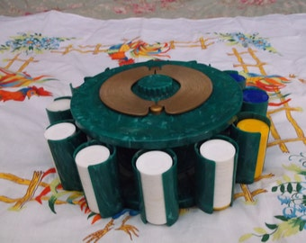 Vintage  Poker Chips And Holder-1950's Made By Pla-wood.This is a really cool item .epsteam