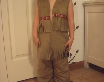 Native American Indian vest for little boys Faux Suede