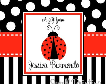 Printable Personalized 3-inch square Lady Bug Gift Tag or Label Lady Bug by Swell Printing