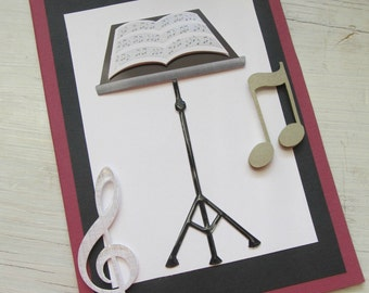 Handmade Card - Music Teacher Card - Music Card - Musicains Card - 3D Musical Notes Card, Any Occasion